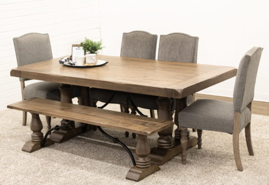 Alexandria Dining Table with 4 Shreveport Chairs & 1 Alexandria Bench