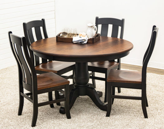 Ellington Single Pedestal Table with 4 Arlington Chairs