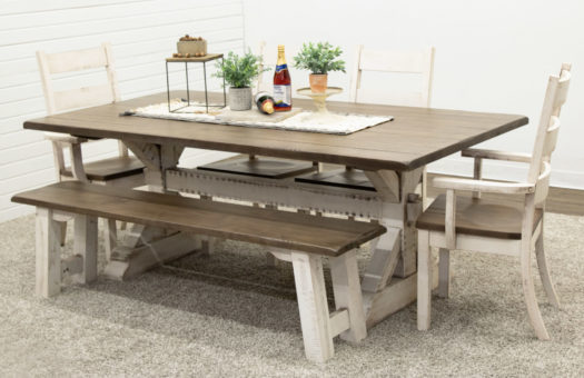 Coastal Farm House Trestle Table with 1 Bench and 4 Western High Back Chairs