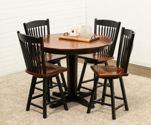 Glacier Pub Table with 4 Post Mission Swivel Bar Chairs