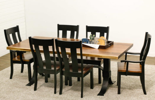 Live Edge Slab Table with 6 Urbana Chairs