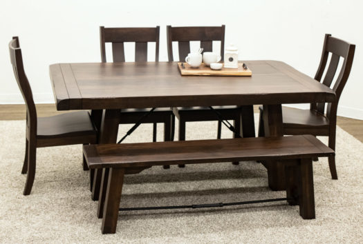Maple Settler's Trestle Table with 4 Urbana Side Chairs and 1 Bench