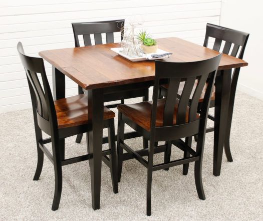 Cherry Camden Shaker Pub Table with 4 Curlew Bar Chairs