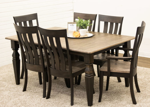 Turned Shaker Square Cam Table with 6 Curlew Chairs