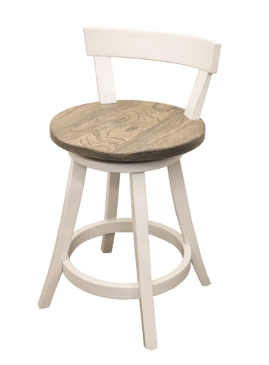 "24"" Turnstone Swivel Bar Stool with Back & Wood Seat"