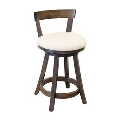 "24"" Turnstone Swivel Bar Stool with Back & Fabric Seat"