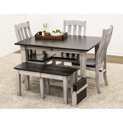 Cambria Leg Table with 1 Bench & 3 Fostoria Chairs