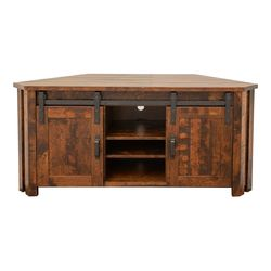 Arcadia Sliding Barn Door Corner TV Stand