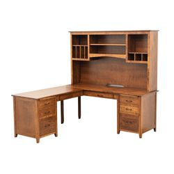 Manhattan L-Desk with Hutch Top