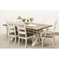 Coastal Farm House Trestle Table with 6 Western High Back Chairs