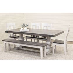 Hillside Double Pedestal Table with 4 Urbana Chairs and 1 Bench