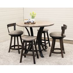 "42"" Round Golden Gate Pub Table with 2 Turnstone Bar Chairs & 2 Round Mission Stools"