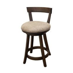 "24"" Turnstone Swivel Bar Stool with Back & Faux Leather Seat"