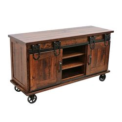 "60"" Cherry Barn Door TV Cart"