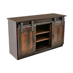 "60"" Maple Sliding Barn Door TV Stand"