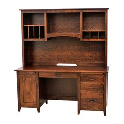 Manhattan Flat Wall Desk with Hutch Top