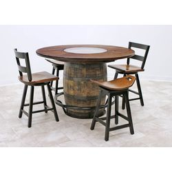Whiskey Single Barrel Table with 2 Saddle Stools & 2 Post Mission 2-Slat Bar Chairs