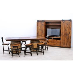 Whiskey Double Barrel Table with 6 Saddle Stools & 2 Post Mission 2-Slat Bar Chairs