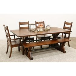 Auburn Trestle Table with 4 Western High Back Chairs & 1 Bench
