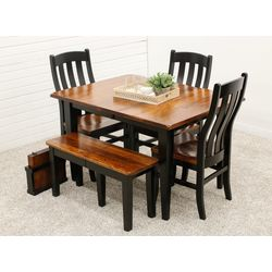 Cherry Easton Settler's Table with 1 Bench & 3 Fostoria Chairs