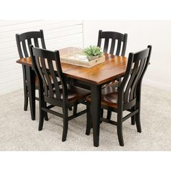 Cherry Easton Settler's Table with 4 Fostoria Chairs