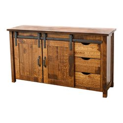 60 QSWO Timber Mill Post TV Stand