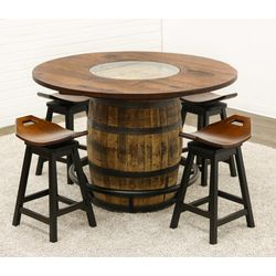 Whiskey Single Barrel Table with 4 Saddle Stools