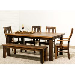 Silverton Leg Table with 4 Chairs & 1 Bench