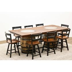 Whiskey Double Barrel Table with 8 Post Mission 2-Slat Bar Chairs