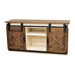 "72"" Coastal Sliding Barn Door TV Stand"