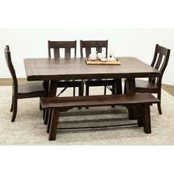 Settler's Trestle Table with 4 Urbana Side Chairs and 1 Bench